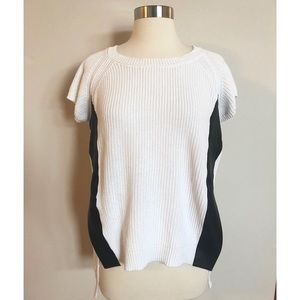Kenneth Cole Sweater Top with Faux Leather Sz XS